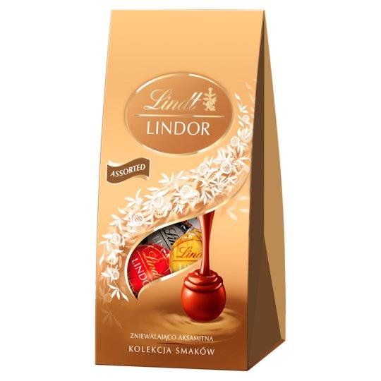 Lindt Lindor Pralinki z czekolady mlecznej białej i gorzkiej z nadzieniem 100 g