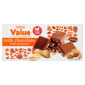 Tesco Value Milk Chocolate with Peanuts 100 g