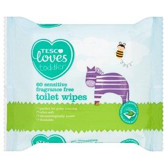 Tesco Loves Toddler Sensitive Fragrance Free Toilet Wipes 60 Pieces