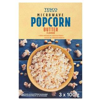Tesco Popcorn o smaku maślanym do przygotowania w kuchence mikrofalowej 3 x 100 g