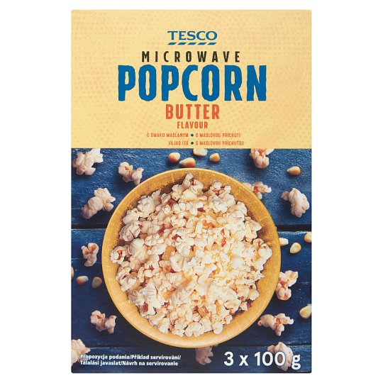 Tesco Butter Flavour Microwave Popcorn 3 x 100 g