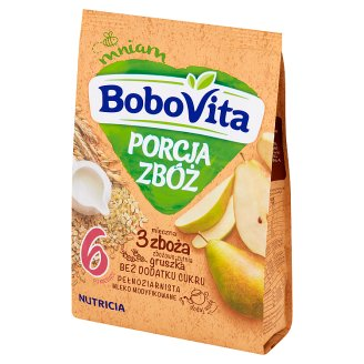 BoboVita Porcja Zbóż 3 Grains Milk Porridge Pear Flavour after 6 Months Onwards 210 g