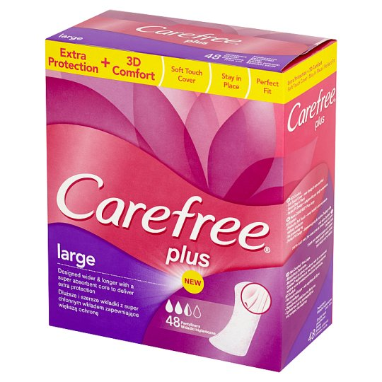 Carefree Plus Large Pantyliners 48 Pieces