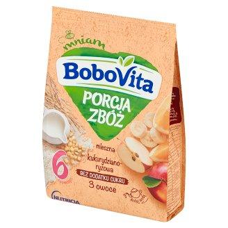 BoboVita Porcja Zbóż Corn-Rice Milk Porridge 3 Fruits Flavour after 6 Months Onwards 210 g