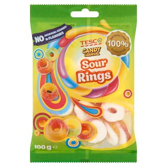 Tesco Candy Carnival Sour Rings Fruit Flavour Jellies in Sour Sugar Topping 100 g