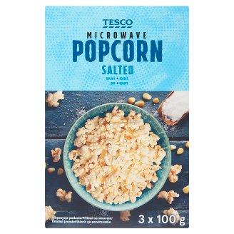 Tesco Popcorn solony do przygotowania w kuchence mikrofalowej 3 x 100 g