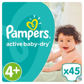 Pampers Active Baby-Dry Size 4+ (Maxi +) 9-18 kg, 45 Nappies