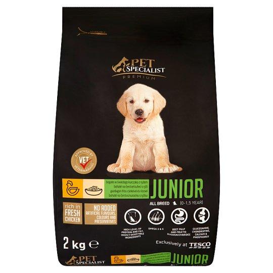Tesco Pet Specialist Premium Karma dla młodych psów granulki bogate w świeżego kurczaka z ryżem 2 kg