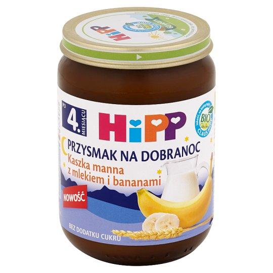 HiPP BIO Przysmak na Dobranoc Kaszka manna z mlekiem i bananami po 4. miesiącu 190 g