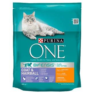 PURINA ONE Coat & Hairball Pełnoporcjowa karma dla dorosłych kotów bogata w kurczaka i ziarna 800 g
