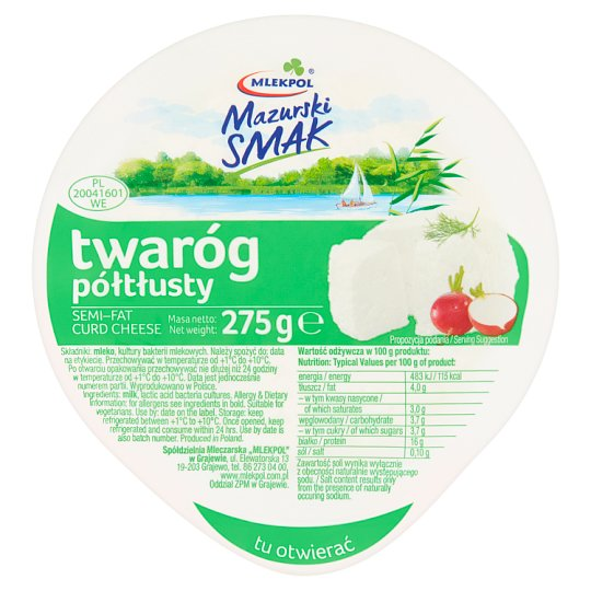 Mlekpol Mazurski Smak Semi-Fat Curd Cheese 275 g