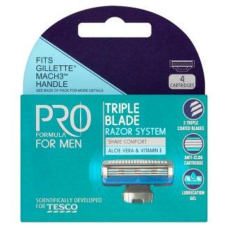 Tesco Pro Formula For Men RightFit 3 Triple Blade Razors 4 Pieces