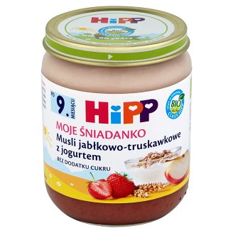 HiPP BIO Moje Śniadanko Apple and Strawberry Muesli with Yoghurt after 9. Months Onwards 160 g