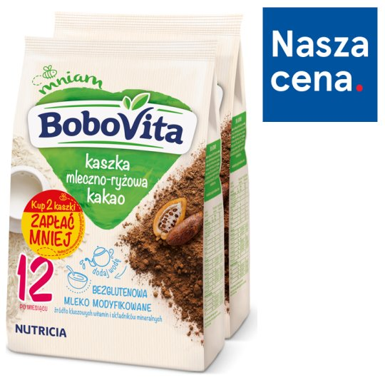 BoboVita Milk and Cereal Porridge Cocoa Flavour after 12 Months Onwards 2 x 230 g