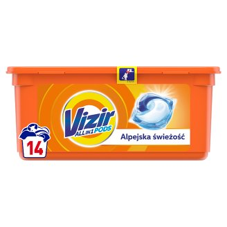 Vizir Washing Capsules Alpine Fresh Triple Action: Cleans Deep, Removes Stains & Brightens 14 Washes