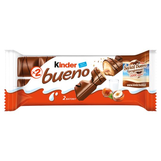 Kinder Bueno Wafer Covered with Milk Chocolate and Filled with Milk-hazelnut Cream 43 g (2 Bars)