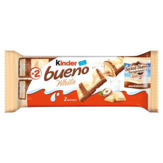 Kinder Bueno White Wafer Covered with Chocolate and Filled with Milk-hazelnut Cream 39 g (2 Bars)
