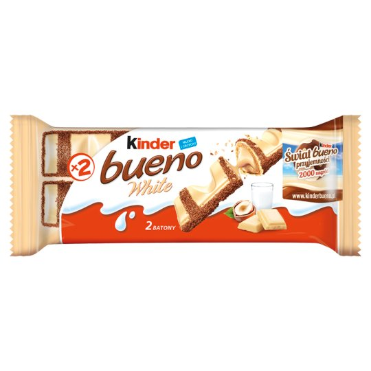 Kinder Bueno White Wafer Covered with Chocolate and Filled with Milk-hazelnut Cream 39 g (2 x 19.5 g