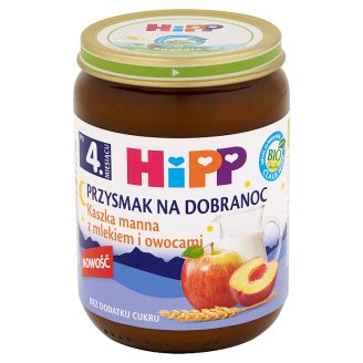 HiPP BIO Przysmak na Dobranoc Semolina with Milk and Fruits after 4. Months Onwards 190 g