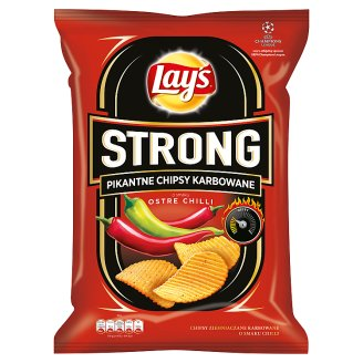 Lay's Strong Hot Chili Flavoured Spicy Corrugated Crisps 225 g