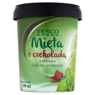 Tesco Mięta z czekoladą Kremowe lody na śmietance 500 ml