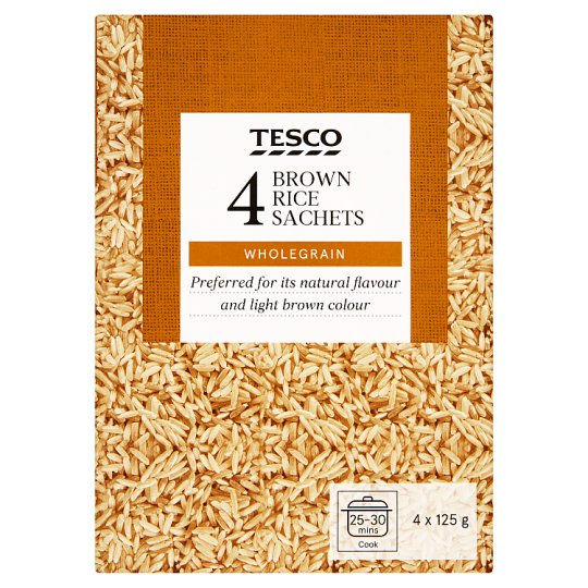 Tesco Brown Rice Wholegrain 500 g (4 x 125 g)
