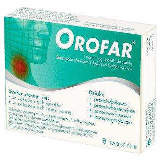 Orofar 1 mg + 1 mg Tabletki do ssania 8 tabletek