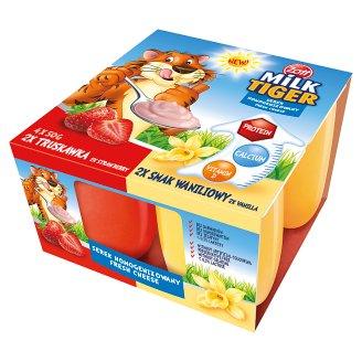 Zott Milk Tiger Strawberry and Vanilla Flavour Fresh Cheese 200 g (4 Pieces)