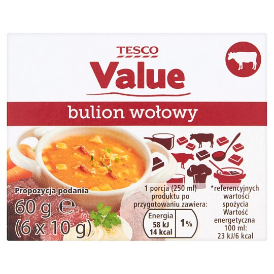 Tesco Value Bulion wołowy 60 g (6 sztuk)