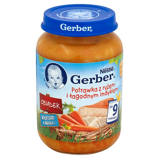 Gerber Obiadek Dish with Rice and Mild Turkey after 9 Months Onwards 190 g