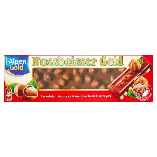 Alpen Gold Nussbeisser Gold Czekolada mleczna z całymi orzechami laskowymi 220 g