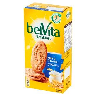 belVita Śniadanie Zboża + mleko Ciastka z pełnym ziarnem 300 g (6 x 4 sztuki)