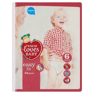 Tesco Loves Baby Easy Fit Pieluchomajtki dla dzieci 6 extra large 16+ kg 34 sztuki