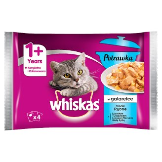Whiskas Stew in Jelly Fish Flavors Complete Cat Food 1+ Years 340 g (4 Sachets)