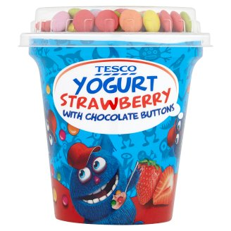 Tesco Yogurt Strawberry with Chocolate Buttons 100 g + 7 g