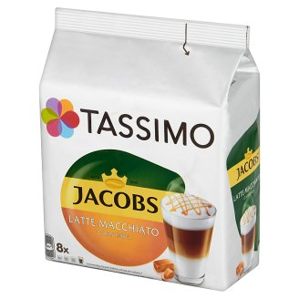 Tassimo Jacobs Latte Macchiato Caramel Ground Coffee 8 Capsules and Milk Drink 8 Capsules 268 g
