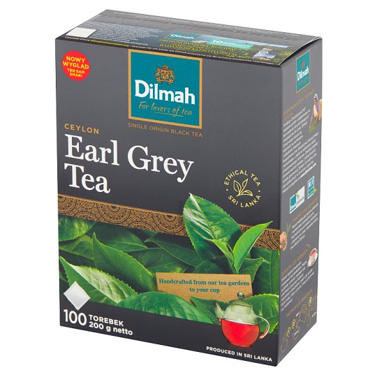 Dilmah Earl Grey Traditional Black Tea with Bergamot Flavour 200 g (100 x 2 g)