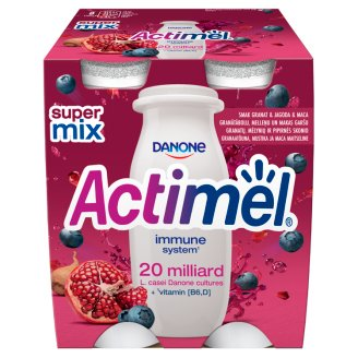 Danone Actimel Pomegranate Bluberries and Maca Flavoured Fermented Milk 400 g (4 x 100 g)