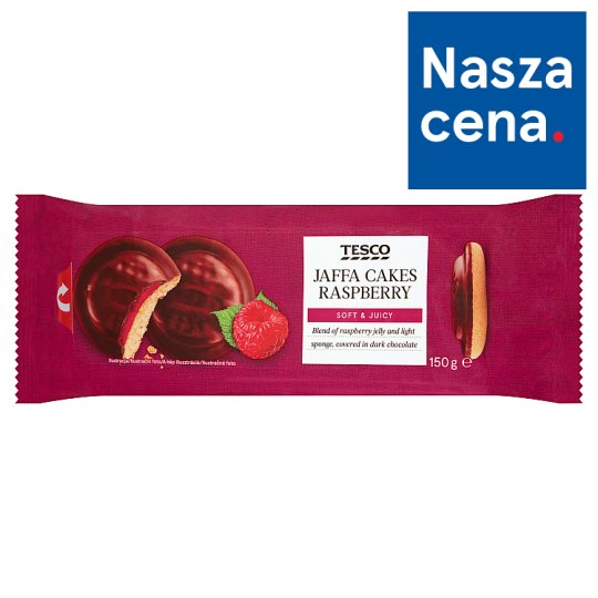 Tesco Biszkopty z galaretką malinową oblane czekoladą 150 g