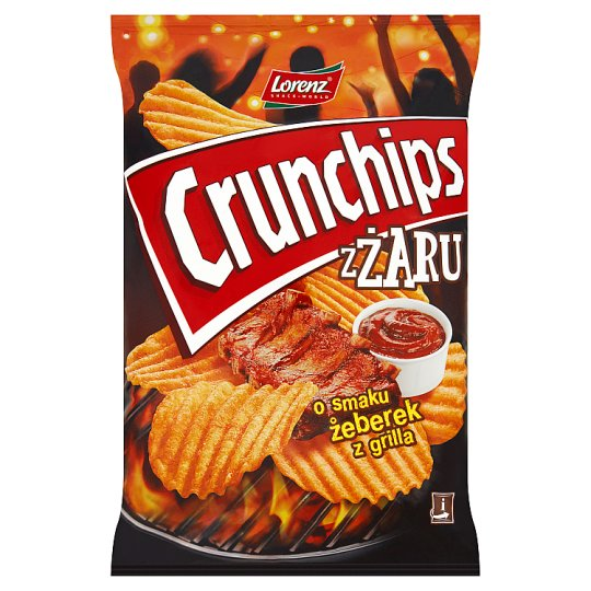 Crunchips zŻaru Grilled Ribs Flavour Riffled Potato Chips 140 g