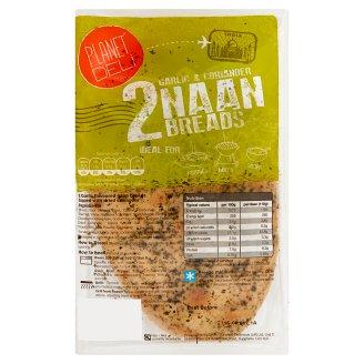 Planet Deli Chlebek Naan Pieczywo pszenne o smaku czosnkowym posypane kolendrą 220 g (2 sztuki)