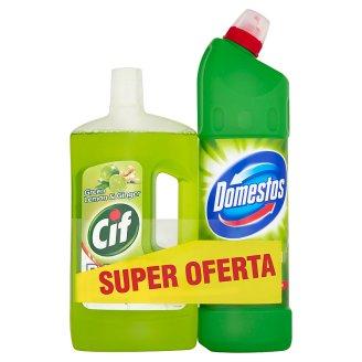 Cif Green Lemon & Ginger Cleaning Fluid 1 L and Domestos 24H Plus Pine Fresh Liquid 1250 ml
