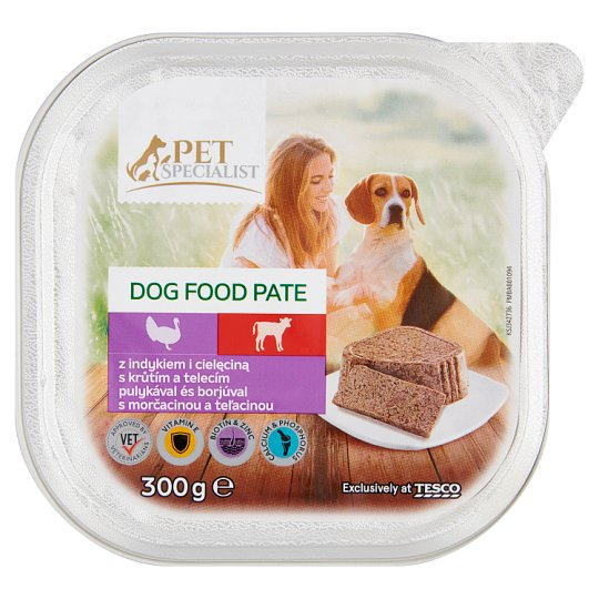 Tesco Pet Specialist Karma dla dorosłych psów pasztet z indykiem i cielęciną 300 g