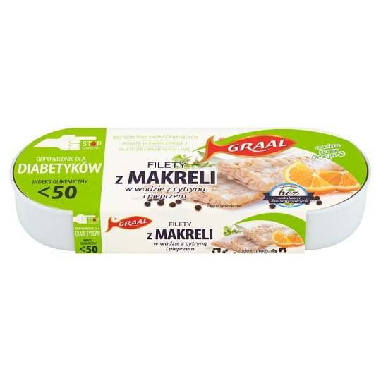 GRAAL Mackerel Fillets in Water with Lemon and Pepper 110 g