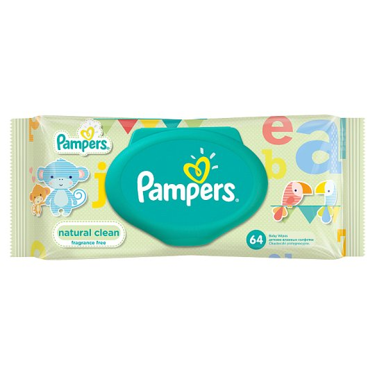 Pampers Natural Clean Baby Wipes Single Pack 64 Wipes