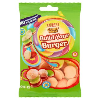 Tesco Candy Carnival Build Your Burger Fruit Flavour Jellies with Concentrated Grape Juice 100 g