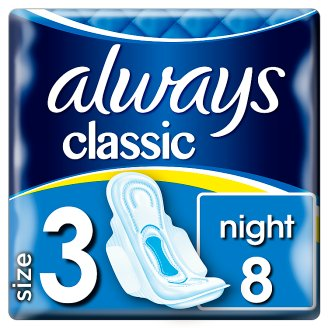 Always Classic Night Sanitary Towels Wings 8 Pads