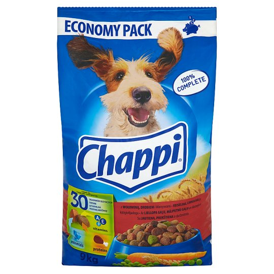 Chappi Complete Food for Adult Dogs with Beef Poultry and Vegetables 9 kg