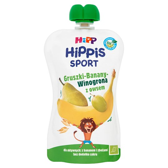 HiPP BIO HiPPiS Sport Pears-Bananas-Grapes with Oats Fruit Mousse after 1. Year Onwards 120 g