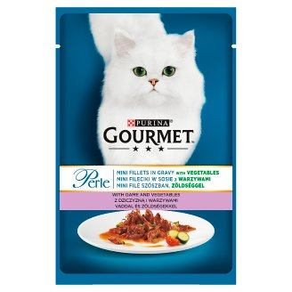 Gourmet Perle Mini Fillets in Gravy with Game and Vegetables Food for Adult Cats 85 g